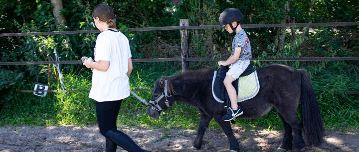 ponyrijden op kindercamping in Drenthe